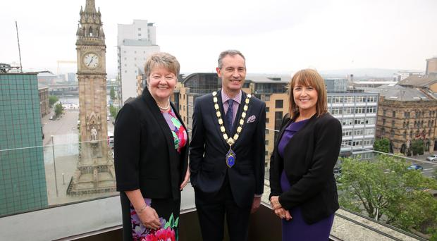 Northern Ireland Chamber of Commerce president Nick Coburn, vice president Ellvena Graham and chief executive Ann McGregorthe