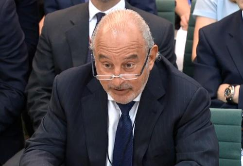 Sir Philip Green gives evidence to the Business, Innovation and Skills Committee and Work and Pensions Committee at Portcullis House in London on the collapse of retailer BHS