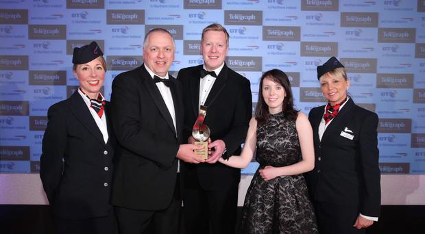 PathXL, which has been bought by Philips, won the Excellence in Technology accolade at the Belfast Telegraph Business Awards in 2015. C0-founder Dr Jim Diamond and software engineer Nicola Montgomery accepted the award from Paul Convery, head of BT Business, and Christine Wright and Jayne Deasy from British Airways