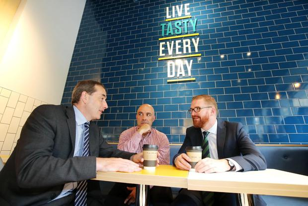 Musgrave managing director Michael McCormack (left) joined store owner Donagh McGoveran and Economy Minister Simon Hamilton at the opening of the new Centra store on Donegall Street, Belfast