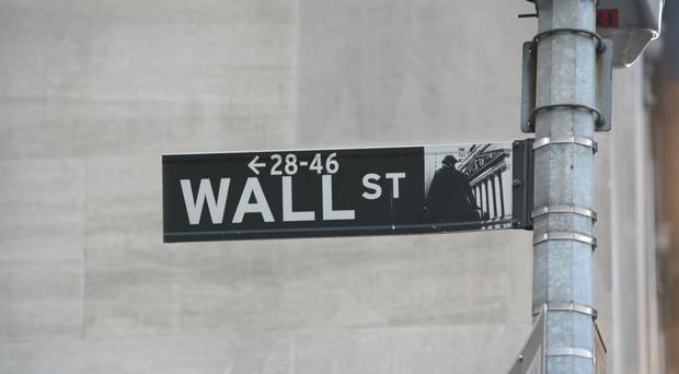A Wall Street sign near the New York Stock Exchange.