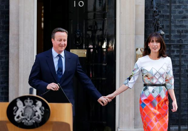 David Cameron and wife Samantha before his announcement that he will stand down in September