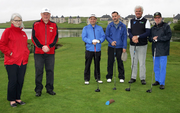 Ready to tee off at Lough Erne resort were travel writers Peter Bugge (Denmark), Thomas Bourdeau (France), Roberto Roversi (Italy) and Frank Gindler (Germany). Also pictured are Lucia King of Tourism NI and Neal Graham, caddy master at Lough Erne Resort
