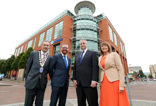 Nick Coburn, president Northern Ireland Chamber of Commerce and Industry, Economy Minister Simon Hamilton, John Healy, managing director of Allstate Northern Ireland and Ann McGregor, chief executive, Northern Ireland Chamber of Commerce and Industry
