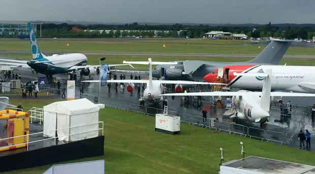 Planes at the Farnborough air show