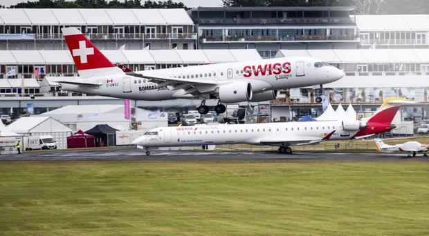 The Bombardier C Series used by Swiss Air at Farnborough Air Show