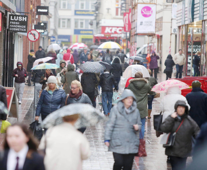 Shoppers brave the rain in Belfast city centre