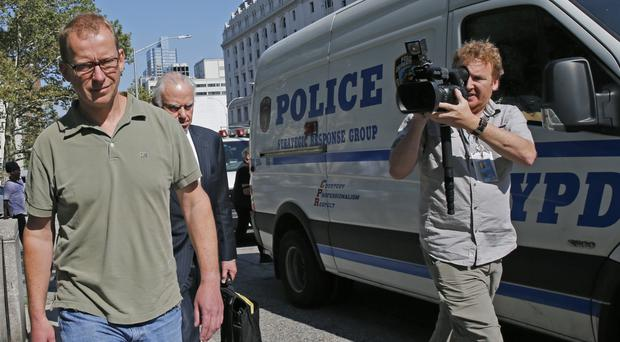 Mark Johnson leaves US District Court in Brooklyn (AP)