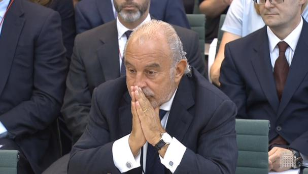 Sir Philip Green giving evidence to MPs on the collapse of BHS