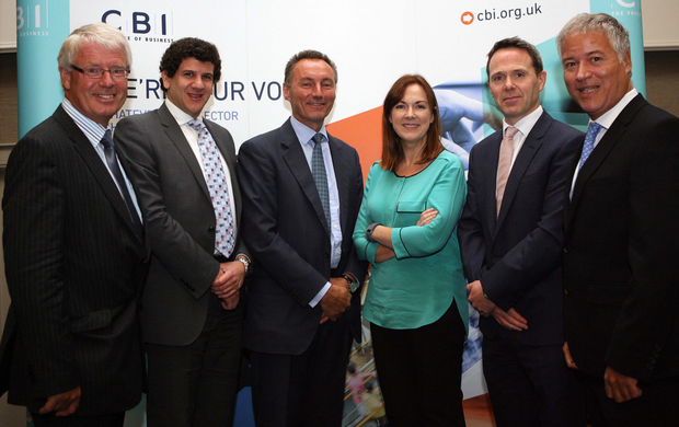 From left: Nigel Smyth, Steven Altmann-Richer, and David Gavaghan, all of CBI, Angela McGowan of Danske Bank, Michael Neill of A&L Goodbody, and Nigel Harra, BDO Northern Ireland