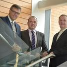 From left, Invest NI CEO Alastair Hamilton, Ian Purdy, Crossvale Europe managing director and Conor Brankin, Crossvale CEO