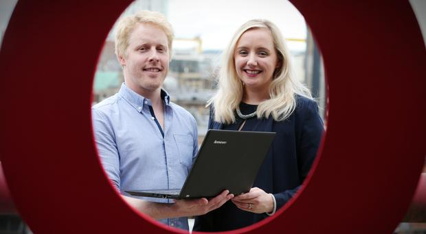 Lynsey Cunningham with Paul Goodchild, founder of Fernleaf Systems, who was named Entrepreneur of the Moment at the Entrepreneuring Awards