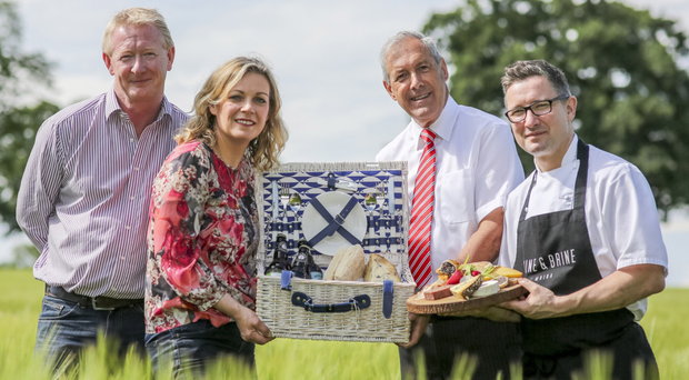 From left: Jim Hannan of Hannan Meats, Speciality Food Fair Moira organiser Joanne McErlain, Councillor Uel Mackin and chef Chris McGowan of Wine & Brine
