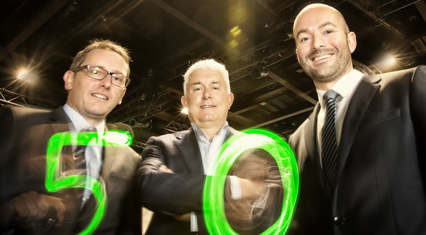 From left, Mark McCann, head of development and director at Flint Studio, Brendan Monaghan, managing director of Neueda and Peter Allen, partner at Deloitte