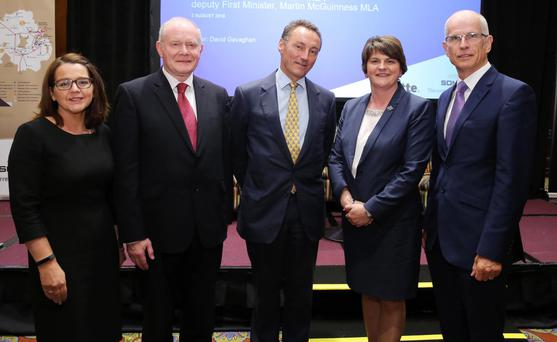 First Minister Arlene Foster and Deputy First Minister Martin McGuinness with Jackie Henry senior partner at Deloitte, David Gavaghan, chair of CBI Northern Ireland and Robin McCormick, general manager at SONI