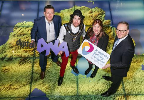 From left: Gareth Quinn of Digital DNA, Armagh mayor Garath Keating, Elaine McAlinden, economic development officer, and Roger Wilson, chief executive