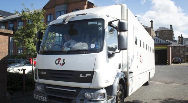 A G4S van leaves Paisley Sheriff Court