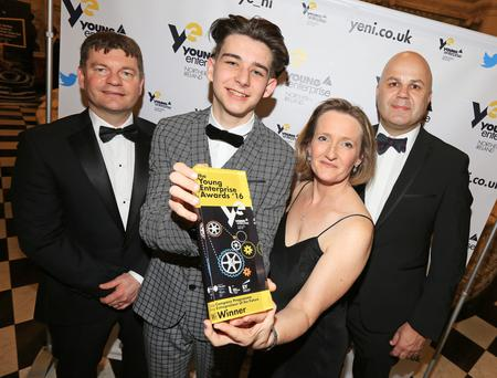 Young Entrepreneur of the Future winner Josh Donnell (second left) with (from left) Cary Wilson from EY, Carol Fitzsimons, chief executive of Young Enterprise NI, and Ciaran Sheehan, chairman of Young Enterprise NI
