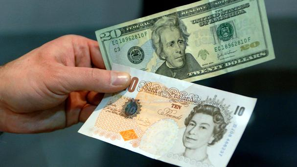Sterling plunged to 1.29 US dollars in earlier trading, before paring losses to a 0.2% fall to 1.30 US dollars