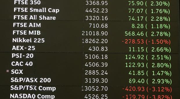 Share prices displayed on a stock ticker screen in the London Stock Exchange in the City of London.