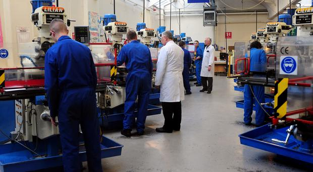 General view of apprentices during training at EEF Apprentices and Skills Centre, Birmingham.