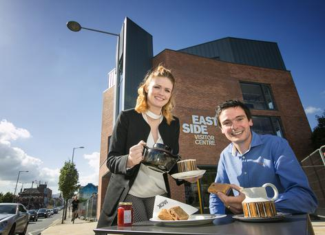 Getting ready to put EastSide on the tourism map at the EastSide Visitor Centre are Belfast businesswoman Linzi Rooney and EastSide tourism manager Chris Armstrong
