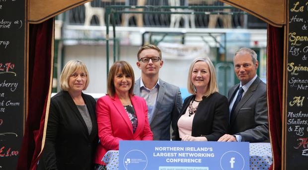 From left: councillor Eileen Graham, Ann McGregor, chief executive of the Northern Ireland Chamber, Justin Rush of Abacus, Aine Kearney, Tourism NI, and Brian Telford, Danske Bank