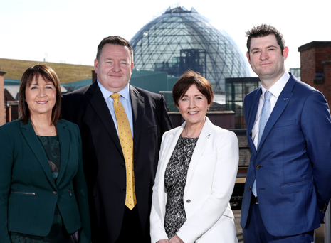 From left: Ann McGregor (NI Chamber); Brian Murphy (BDO); Maureen O'Reilly (NI Chamber economist) and Christopher Morrow (NI Chamber)
