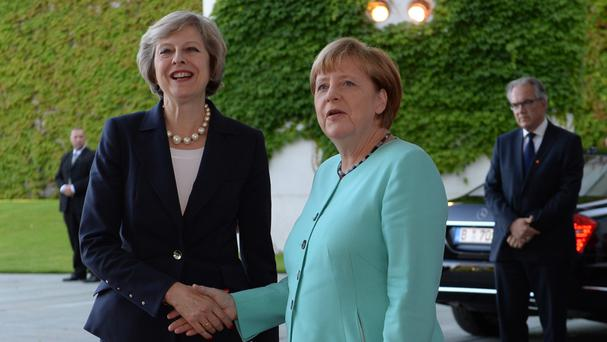 Prime Minister Theresa May got a friendly reception from German Chancellor Angela Merkel