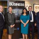 Richard McClean, managing director of INM, with Sylvie Brando and Sonia McCourt of Ulster Business, Peter Stafford of A&L Goodbody and David Elliott, editor of Ulster Business.