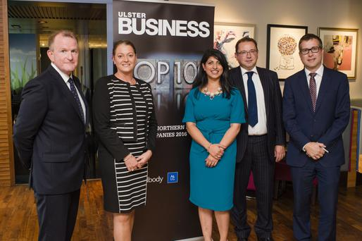 Richard McClean, managing director of INM, with Sylvie Brando and Sonia Armstrong of Ulster Business, Peter Stafford of A&L Goodbody and David Elliott, editor of Ulster Business.