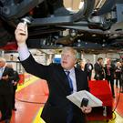 Former London Mayor Boris Johnson at the Wrightbus factory in Ballymena