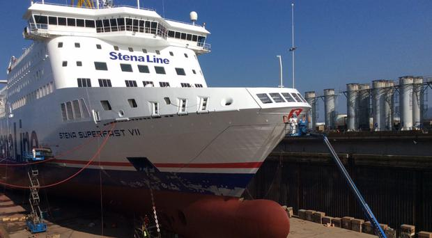 The Stena Line Superfast VII during a refit in Belfast