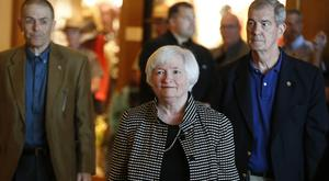 Fed chair Janet Yellen arrives for a reception on the opening night of the annual meeting of the world's central bankers at Jackson Lake Lodge, Wyoming (AP)