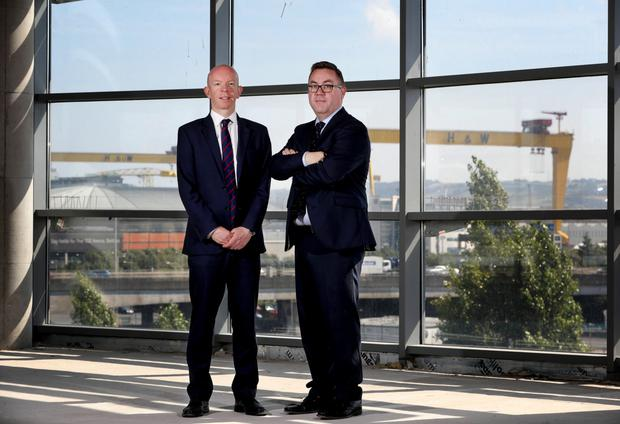 CBRE's David Wright (left) and David Mulholland, chief executive of The Bar of Northern Ireland City