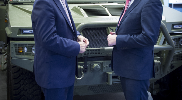 Economy Minister Simon Hamilton with Thales Advanced Weapon Systems UK general manager Philip McBride during a visit to the company's Belfast facility