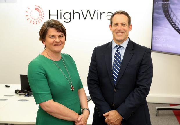 The First Minister Arlene Foster and HighWire's CEO Dan Filby
