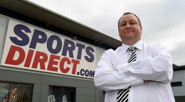Mike Ashley outside the Sports Direct headquarters in Shirebrook, Derbyshire