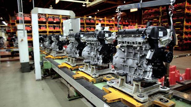 Ford engines on the production line at the firm's Bridgend factory