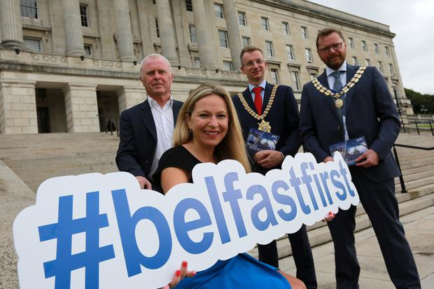 Michelle Greeves, manager of Victoria Square and senior vice-president of BCTC with Bill Wolsey, owner of the Beannchor Group, Lord Mayor of Belfast Alderman Brian Kingston, and Gordon McElroy, president of Belfast Chamber of Trade and Commerce at the launch of the Belfast First manifesto