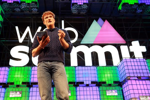 Paddy Cosgrave, co-founder of the Web Summit, addresses the crowd at its opening at the RDS