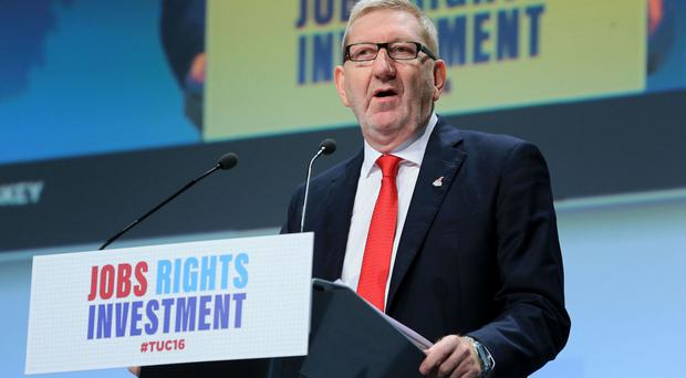 Len McCluskey, general secretary of Unite, delivers a speech at the annual TUC Congress in Brighton