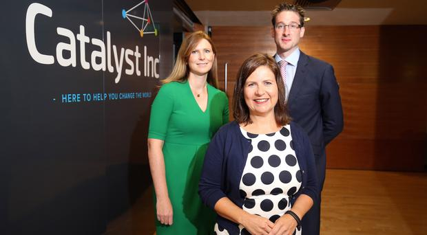 Claire McCombe, private banker; John Mathers, Barclays corporate development director, and (front) Elaine Smyth, head of programmes, Connect at Catalyst Inc