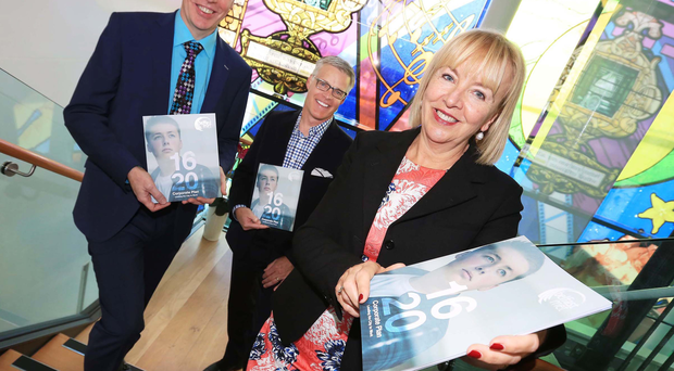 Launching the new corporate plan are Frank Bryan (left) and Marie-Therese McGivern, both of Belfast Met, and keynote speaker Steve McKee
