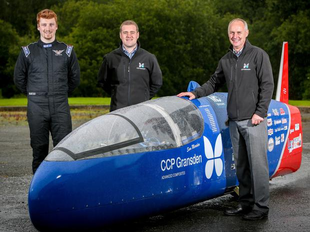 From left: Sam Marsden, and Robert McConnell and Jim Erskine of CCP Gransden with motorbike