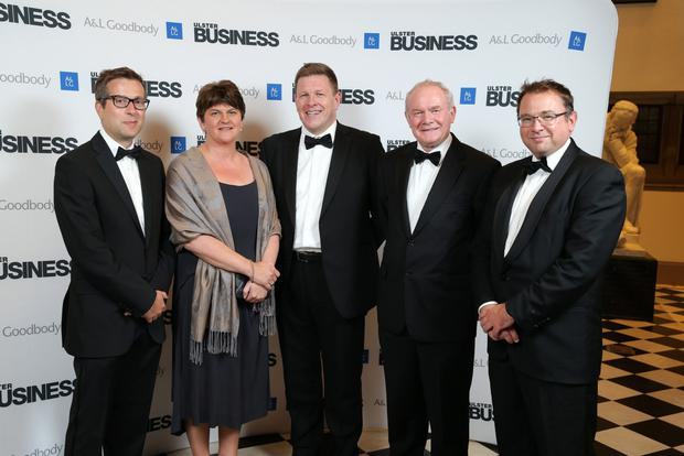 First Minister Arlene Foster and Deputy First Minister Martin McGuinness attended the Ulster Business Magazine Top 100 companies gala dinner in the Great Hall at Queen's University, Belfast, on Thursday night. They attended the event, which was sponsored by law firm A&L Goodbody, at the Great Hall in Queen's University, Belfast, on Friday night. From left to right: David Elliott, Ulster Business editor; First Minister Arlene Foster; Mark Thompson, A&L Goodbody; Deputy First Minister Martin McGuinness, and Peter Stafford, chairman of A&L Goodbody