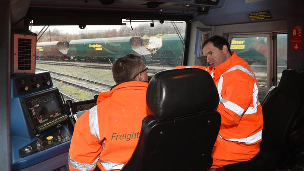 The cab of a Freightliner Heavy Haul train during a visit by then chancellor George Osborne