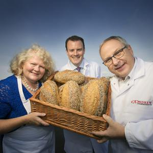 John Foster (right) with Michele Shirlow, from Food NI, and John Graham, director of Andrew Ingredients