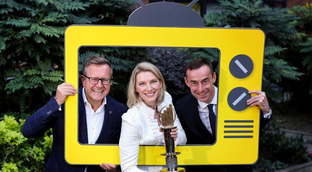 Launching the EY Entrepreneur of the Year show on UTV are programme director Sean Duffy, presenter Pamela Flood and EY partner Rob Heron