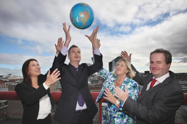 The Belfast International Homecoming 2016 is launched by (l-r) Áine Brolly, chief executive, Cpl; Jack Butler, chief operating officer, Market Resource Partners; Cllr Aileen Graham, City Growth and Regeneration Committee chair, Belfast City Council; and Dan McGinn, NI corporate affairs & communications manager
